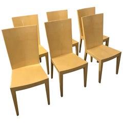S/6 Mid-Century Modern Eugenio Escudero Attrib. Lacquered Goatskin Dining Chairs