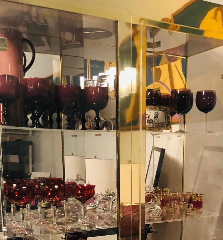 Set of 6 French Ruby Red Crystal with Clear Stem Champagne Coupe Glasses For Sale 8