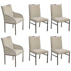 S/6 Mid-Century Modern Pierre Cardin Style Chrome & Felted Wool Dining Chairs