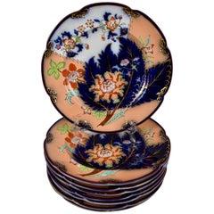 S/8 John Ridgway English Chinoiserie Style Imari Glazed Plates, Date Code, 1845