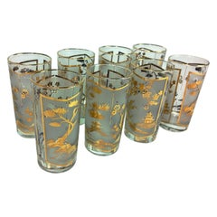 S/8 Mid-Century Modern Gilt Glass Chinoiserie Fred Press Style Cocktail Glasses