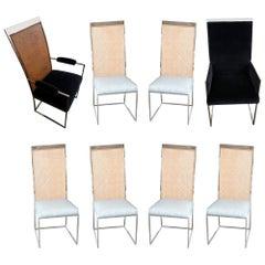 S/8 Milo Baughman New Light Blue & Navy Fabric Chrome & Cane Back Dining Chairs