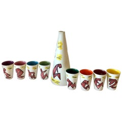 S/9 Vallauris Ivory, Yellow, Blue, Green, Red & Purple Ceramic Carafe W/ 8 Cups