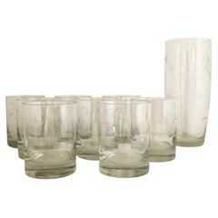 S/9 W Virginia Glass Speciality Co Clear Botanical Engraved Glasses and Carafe