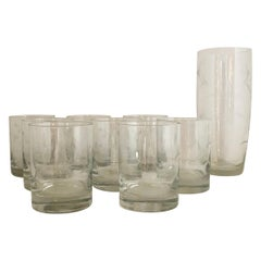 S/9 W Virginia Glass Speciality Co Clear Botanical Engraved Glasses & Shaker