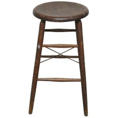 S. Bent and Brothers Rustic Wooden Stool
