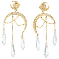 S. Colee Diamond Topaz Yellow Gold Crescent Moon Dangle Earrings