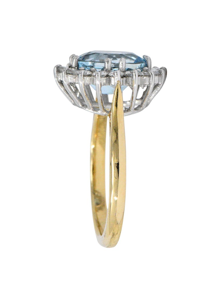 Contemporary S & D 2.35 Carat Aquamarine Diamond 18 Karat Two-Tone Gold Cluster Ring For Sale