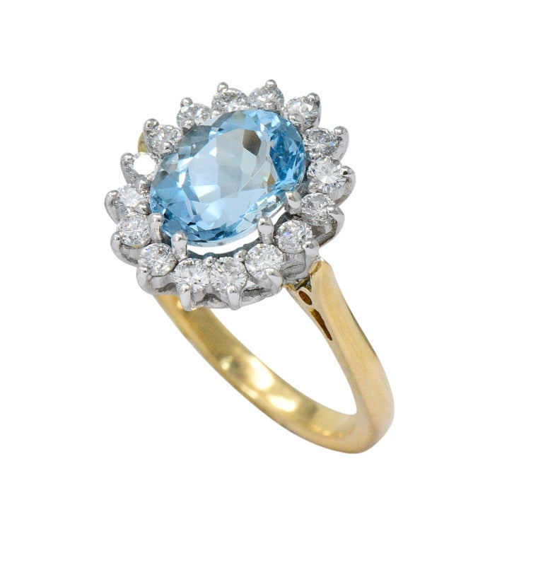 Oval Cut S & D 2.35 Carat Aquamarine Diamond 18 Karat Two-Tone Gold Cluster Ring For Sale
