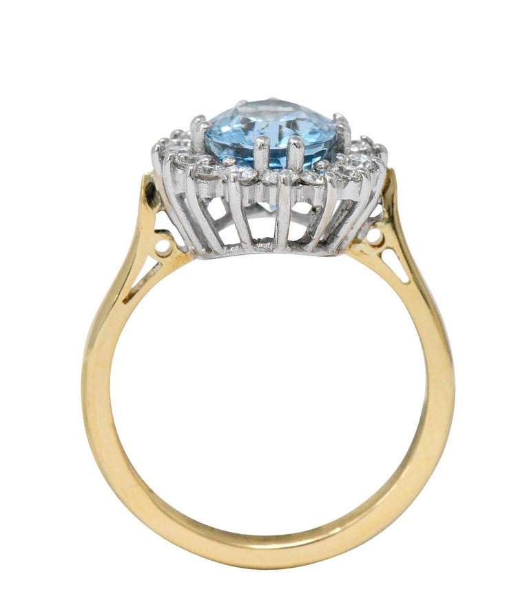 S & D 2.35 Carat Aquamarine Diamond 18 Karat Two-Tone Gold Cluster Ring In Excellent Condition For Sale In Philadelphia, PA