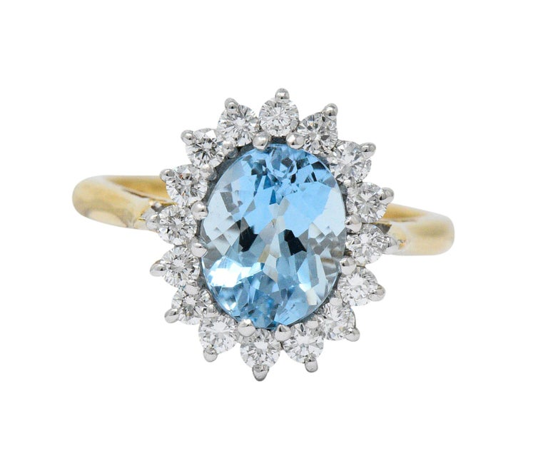 S & D 2.35 Carat Aquamarine Diamond 18 Karat Two-Tone Gold Cluster Ring For Sale