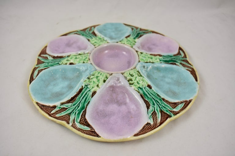 Glazed S. Fielding & Co. English Majolica Turquoise and Pink Seaweed Oyster Plate For Sale