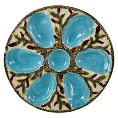 S. Fielding & Co. English Majolica Turquoise/White Shell & Seaweed Oyster Plate