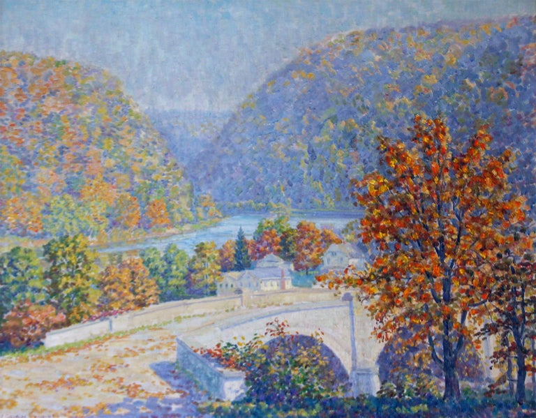 Delaware Water Gap, Pennsylvania Impressionist, American Regional Landscape - Painting by S. George Phillips