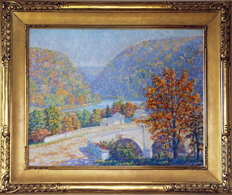 S. George Phillips Landscape Painting - Delaware Water Gap, Pennsylvania Impressionist, American Regional Landscape