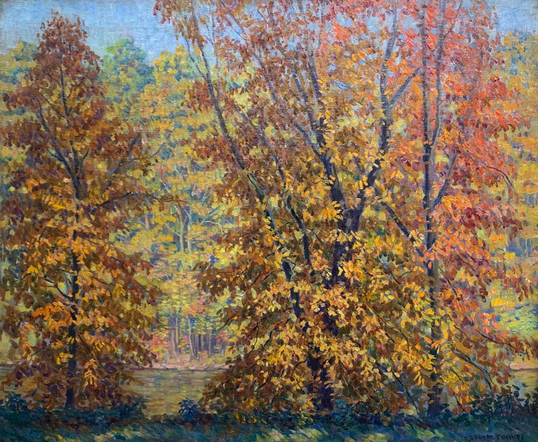 Fall on the Delaware,  American Impressionist, Pennsylvania River Landscape - Painting by S. George Phillips