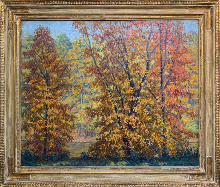S. George Phillips Landscape Painting - Fall on the Delaware,  American Impressionist, Pennsylvania River Landscape