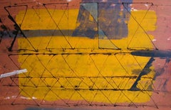 """Abstract, Mixed Media, Black, Brown, Saffron, Grey by Indian Artist """"In Stock"""""""