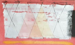 "Abstract Painting, Mixed Media on paper, Red, Sliver, Yellow colors ""In Stock"""