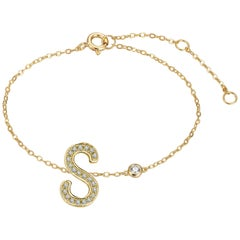 S Initial Bezel Chain Anklet