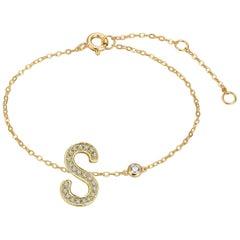 S Initial Bezel Chain Bracelet