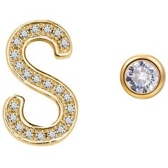 S Initial Bezel Mismatched Earrings