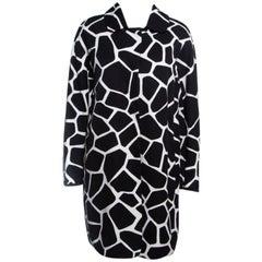 'S Max Mara Monochrome Cotton Twill Printed Coat M