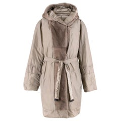 S' Max Mara Reversible Silver Grey Padded Coat with Mink Hood and Trim 16 GB