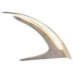 S. Rubertelli for Matlight Italian White Marble and Bronzed Aluminum Table Lamp