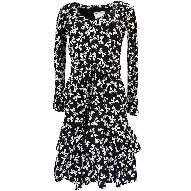 S/S 1987 Yves Saint Laurent Bow Print Silk Ruffle Dress
