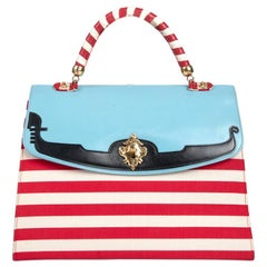 "S-S 1989 MOSCHINO COUTURE ""I Love Venice"" Blue Red White Top Handle Bag & Strap"