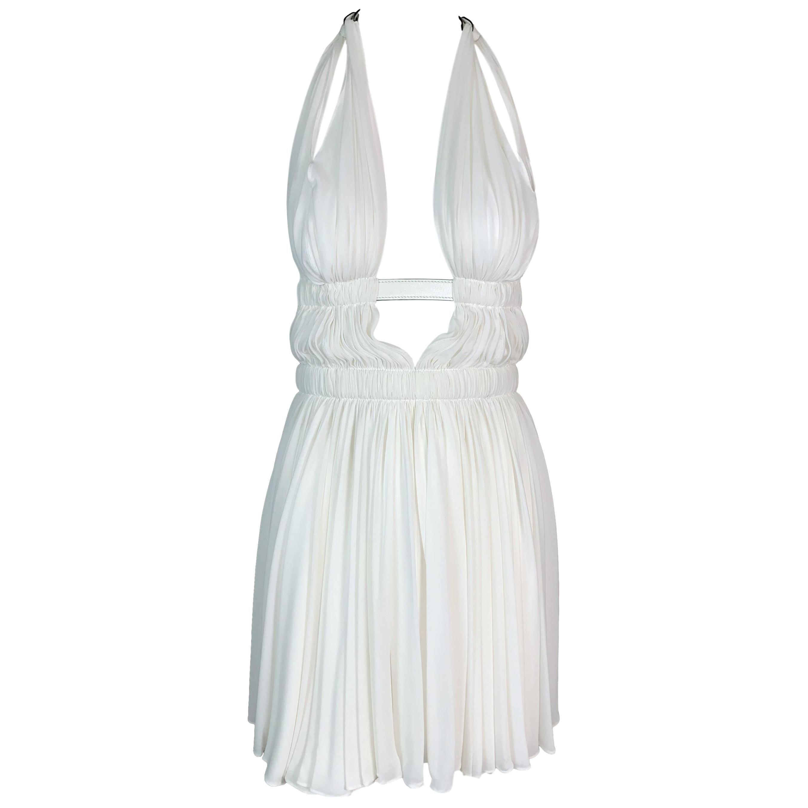 S/S 1991 Azzedine Alaia Runway Retrospective White Grecian Micro Mini Dress