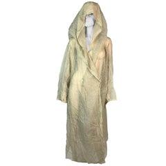 S/S 1991 Azzedine Alaia Sheer Star Print Long Hooded Dress Coat