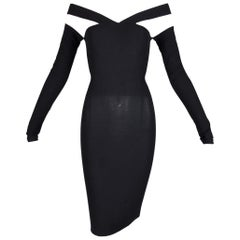 S/S 1991 Dolce & Gabbana Runway Black Sheer Off Shoulder Wiggle Mini Dress