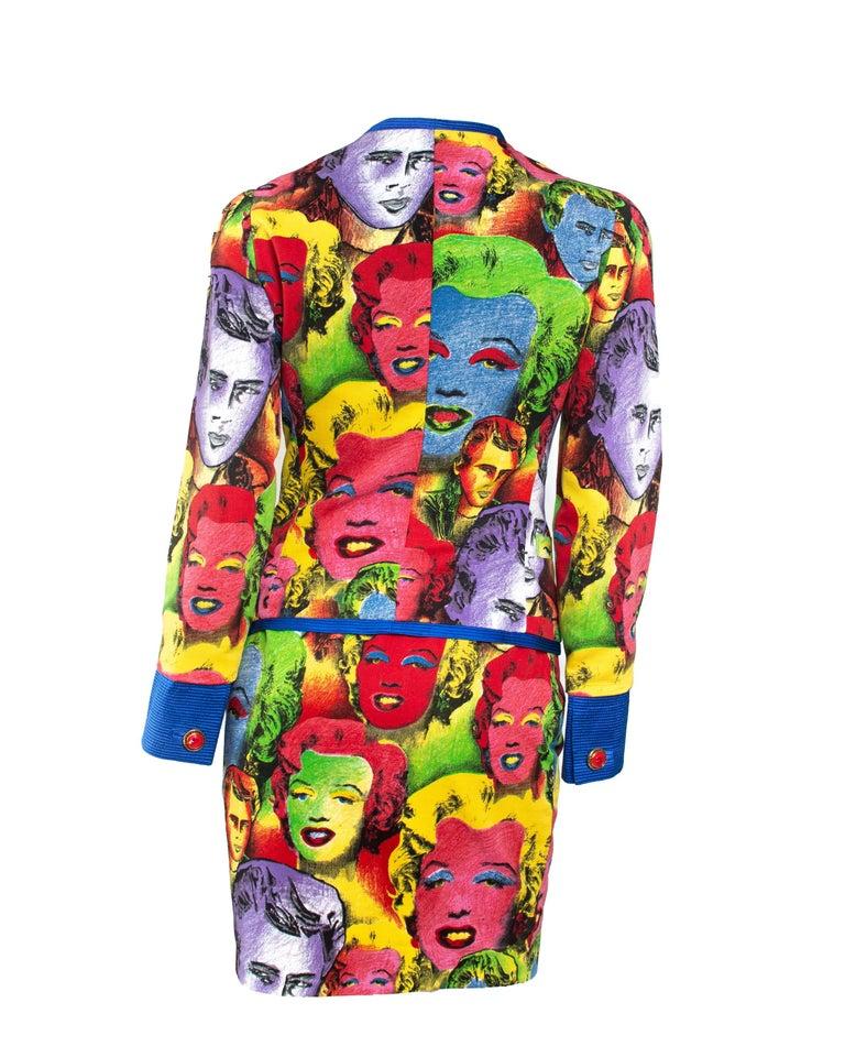 Brown S/S 1991 Gianni Versace Marilyn Monroe Warhol Inspired Print Pop Art Skirt Suit For Sale
