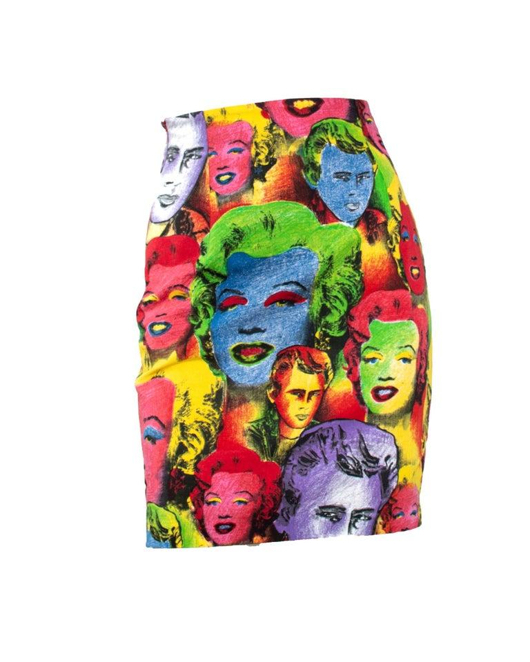 Women's S/S 1991 Gianni Versace Marilyn Monroe Warhol Inspired Print Pop Art Skirt Suit For Sale