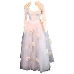S/S 1992 Dolce & Gabbana Bridal Wedding Gown Bustier Tulle Skirt Shrug Ensemble