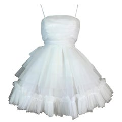 S/S 1992 Dolce & Gabbana White Ballerina Pin-Up Tulle Mini Dress