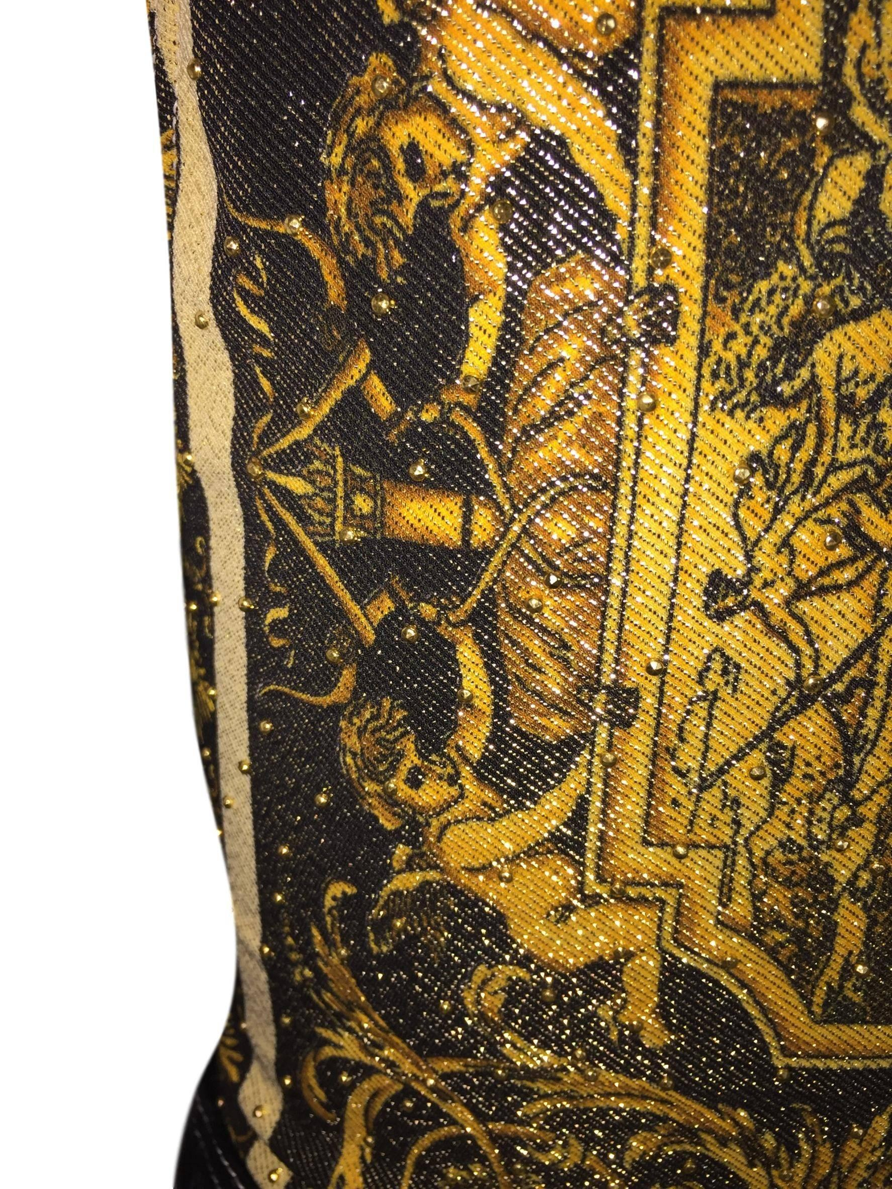 S S 1992 Gianni Versace Atelier Print Gold Studded Baroque Top For Sale at  1stdibs 5d0584598
