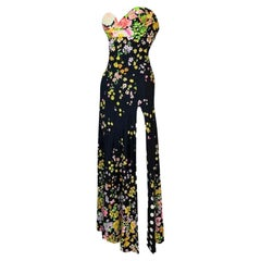 S/S 1993 Gianni Versace Runway Black Floral Strapless Bustier Gown Dress