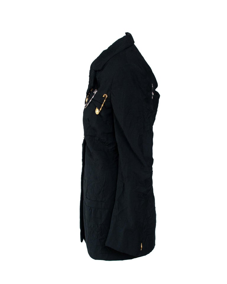 Black S/S 1994 Gianni Versace Couture Medusa Safety Pin Blazer Runway  For Sale