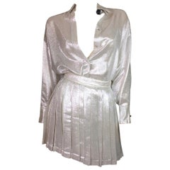 S/S 1994 Gianni Versace Silver Button Down Blouse & Pleated Skirt Set