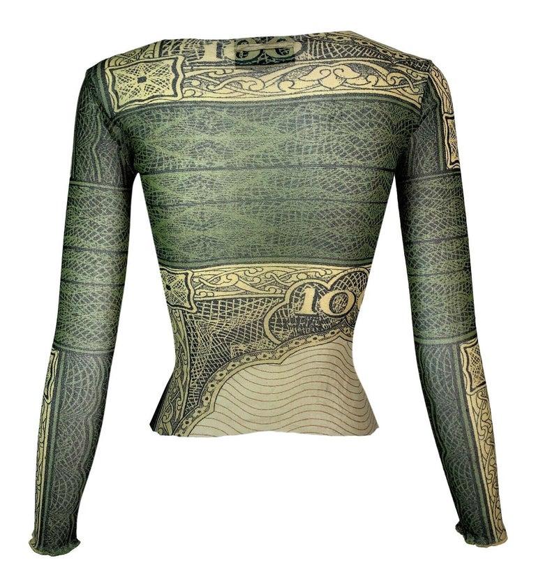 S/S 1994 Jean Paul Gaultier Runway Sheer Green Money Dollars Top In Good Condition For Sale In Yukon, OK
