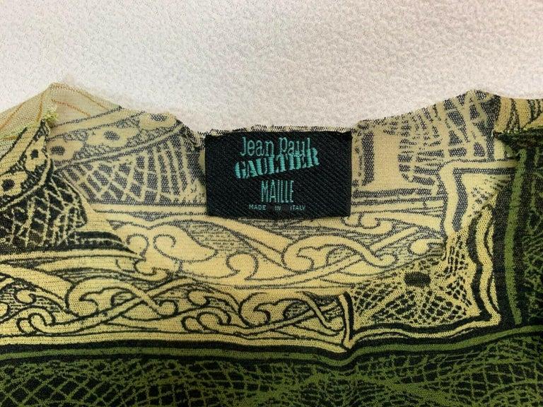 Women's S/S 1994 Jean Paul Gaultier Runway Sheer Green Money Dollars Top For Sale
