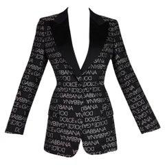 S/S 1995 Dolce & Gabbana Black & White Monogram Logo Smoking Tux Jacket
