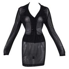 S/S 1995 Dolce & Gabbana Pin-Up Sheer Black Mesh Jacket & Mini Skirt Suit