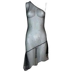S/S 1995 Dolce & Gabbana Runway Sheer Black Mesh Embellished Mini Dress