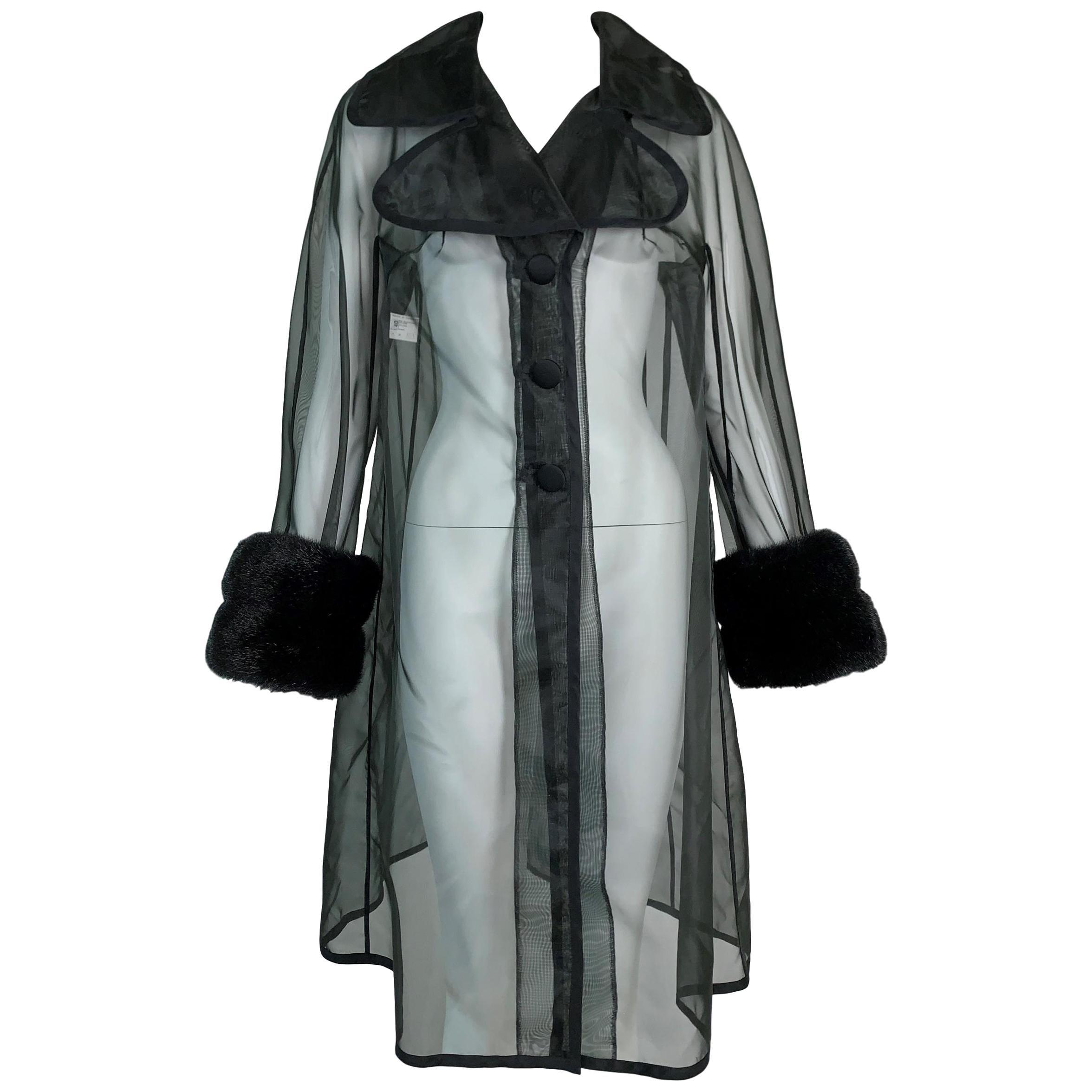 S/S 1995 Dolce & Gabbana Sheer Black 1950's Style A-Line Faux Fur Jacket