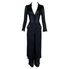 S/S 1995 Dolce & Gabbana Sheer Black Coat Dress & Pant Suit Set