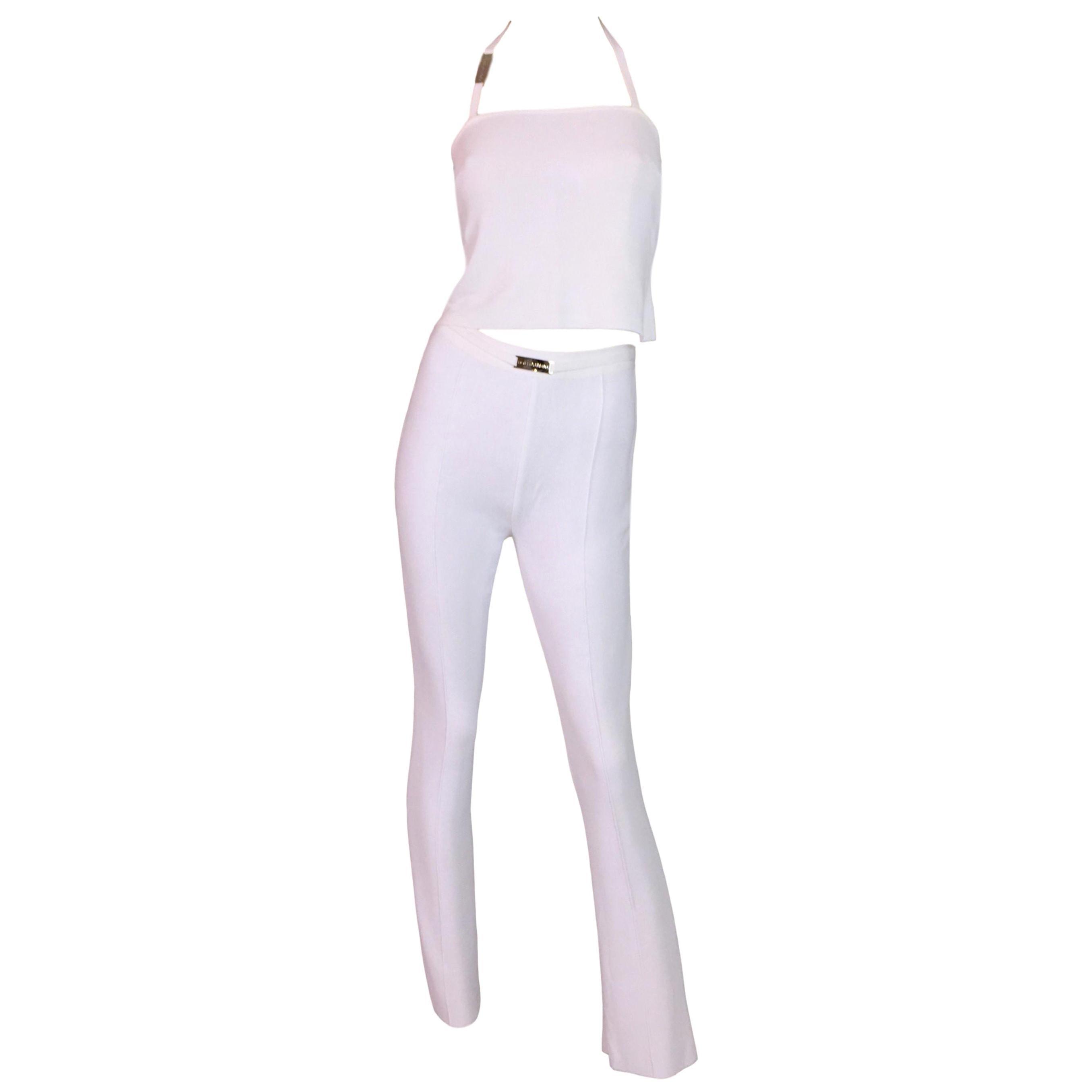 S/S 1995 Dolce & Gabbana Sheer White Knit High Waist Pants & Crop Top Jumpsuit